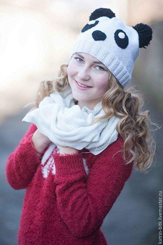 Шапка `Панда` - вязаная шапка детская или молодежная. Шапка `Панда` вязаная зверошапка спицами вязание зимняя шапка. Купить зимнюю шапку в интернете. Ручная работа. Handmade.