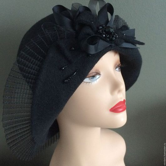 """Шляпы ручной работы. Ярмарка Мастеров - ручная работа. Купить Шляпа """"Плиссе"""". Handmade. Черный, шляпа из фетра, регилин"""