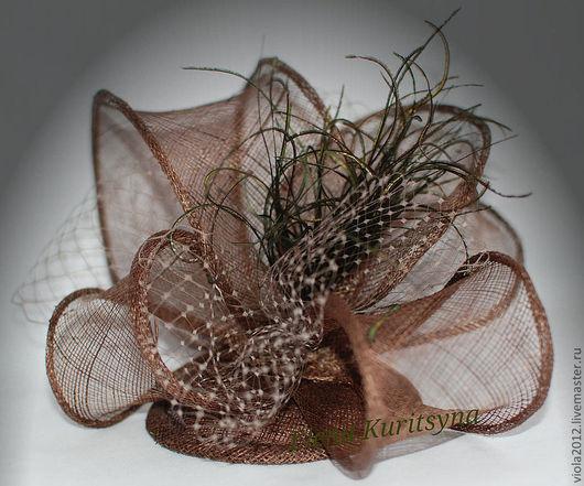 """Шляпы ручной работы. Ярмарка Мастеров - ручная работа. Купить Вечерняя шляпка-вуалетка """"Каприз"""". Handmade. Коричневый, Синамей, вуаль"""