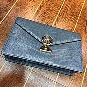Сумки и аксессуары handmade. Livemaster - original item Clutch bag made of crocodile belly, in gray!. Handmade.