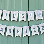 Свадебный салон ручной работы. Ярмарка Мастеров - ручная работа Растяжки JUST MARRIED. Handmade.