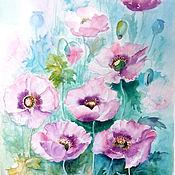 """Картины и панно ручной работы. Ярмарка Мастеров - ручная работа Картина акварель """"Розовые маки"""" цветы. Handmade."""