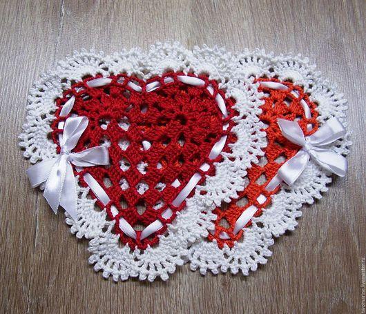 """Кухня ручной работы. Ярмарка Мастеров - ручная работа. Купить """"Влюбленные сердца"""" салфетка ( 2 шт ). Handmade."""