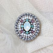 Украшения handmade. Livemaster - original item Delicate brooch. Embroidered brooch. Crystals and Swarovski crystals. Pearl. Handmade.