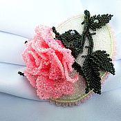 handmade. Livemaster - original item Brooch-pin: WINTER ROSE (pink) beaded brooch. Handmade.