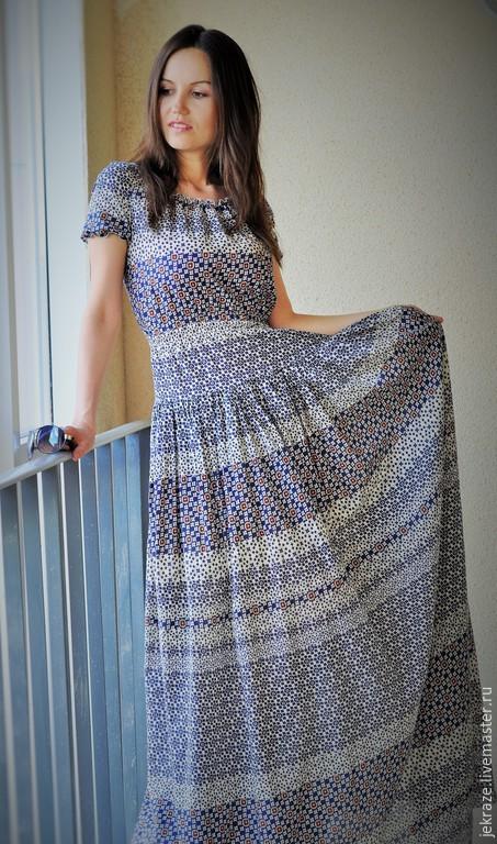 Платья ручной работы. Ярмарка Мастеров - ручная работа. Купить 02.Длинное платье притаеное из 100%  хлопка. Handmade. fashion