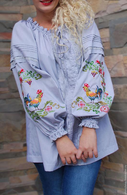 """Блузки ручной работы. Ярмарка Мастеров - ручная работа. Купить Эксклюзивная вышитая блуза """"Петушки"""". Handmade. Вышитая блуза, петух"""