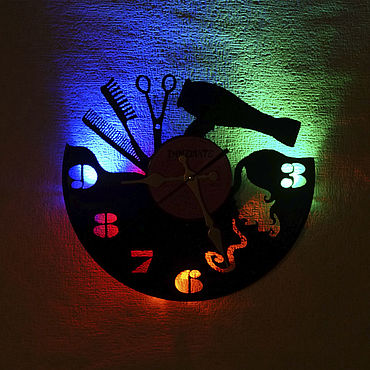 For home and interior handmade. Livemaster - original item Wall clock with LED backlit vinyl record Style. Handmade.