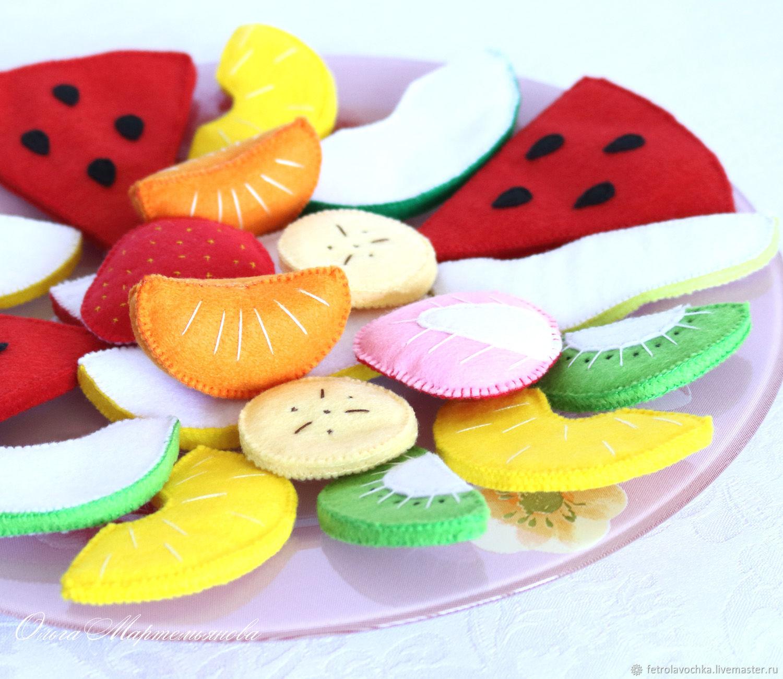 Кукольная, игрушечная еда из фетра. Фруктово-ягодный десерт. Фрукты, Кукольная еда, Кириши,  Фото №1