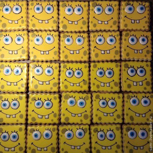 Кулинарные сувениры ручной работы. Ярмарка Мастеров - ручная работа. Купить Печенье Спанч Боб. Handmade. Пряники, день рождения