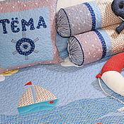 """Пледы ручной работы. Ярмарка Мастеров - ручная работа Покрывало  Комплект  именной  """"Морской"""" для мальчика. Handmade."""
