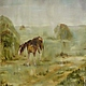 Авторская одноразмерная копия в стилистике импрессионизма `Дождь. Мокрая лошадь`,  2011, х/м, 45х35, картины `Мокрая лошадь` 1989г, находящейся в коллекции автора. Написана для Международной выставки