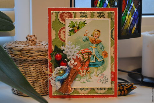Открытки к Новому году ручной работы. Ярмарка Мастеров - ручная работа. Купить Новогодняя карточка-открытка. Handmade. Новый Год