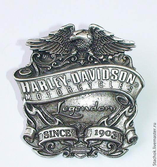 """Винтажные украшения. Ярмарка Мастеров - ручная работа. Купить Брошь """"Легендарный Harley-Davidson"""" под олово (США). Handmade. Брошь"""