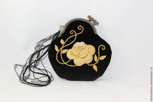 Женские сумки ручной работы. Ярмарка Мастеров - ручная работа. Купить Золотая роза. Handmade. Черный, золотное шитьё, фермуар