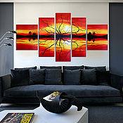 """Картины и панно ручной работы. Ярмарка Мастеров - ручная работа """"Оранжевый закат"""" Модульная картина. Handmade."""