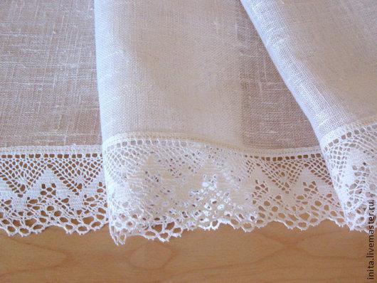 Текстиль, ковры ручной работы. Ярмарка Мастеров - ручная работа. Купить Скатерть льняная  белая, размер 1.6m x 1.6m. Handmade.