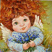 """Картины и панно ручной работы. Ярмарка Мастеров - ручная работа Картина маслом. """"Ангел с колокольчиками"""". Handmade."""