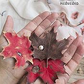 Украшения handmade. Livemaster - original item Leather brooch maple Leaf. Handmade.