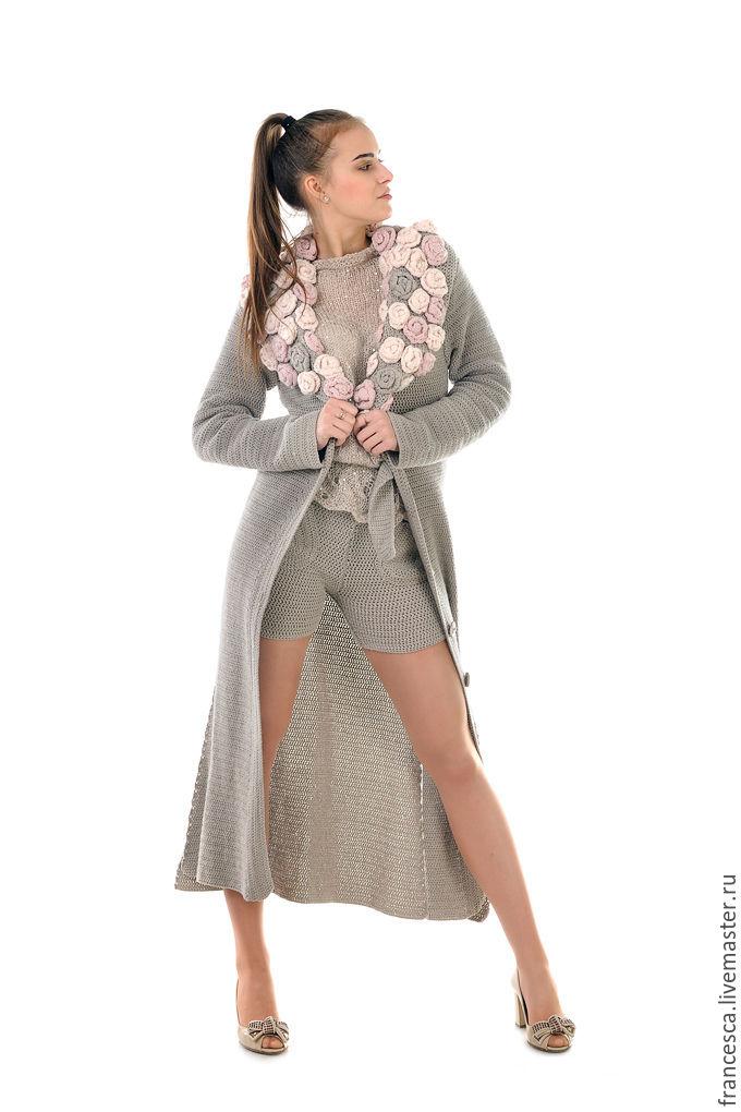 пальто вязаное крючком кардиган бохо из кашемира с шелком и шорты