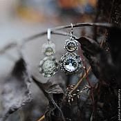 """Украшения ручной работы. Ярмарка Мастеров - ручная работа Серьги """"Черный бриллиант"""" с кристаллами Сваровски и раухтопазом. Handmade."""