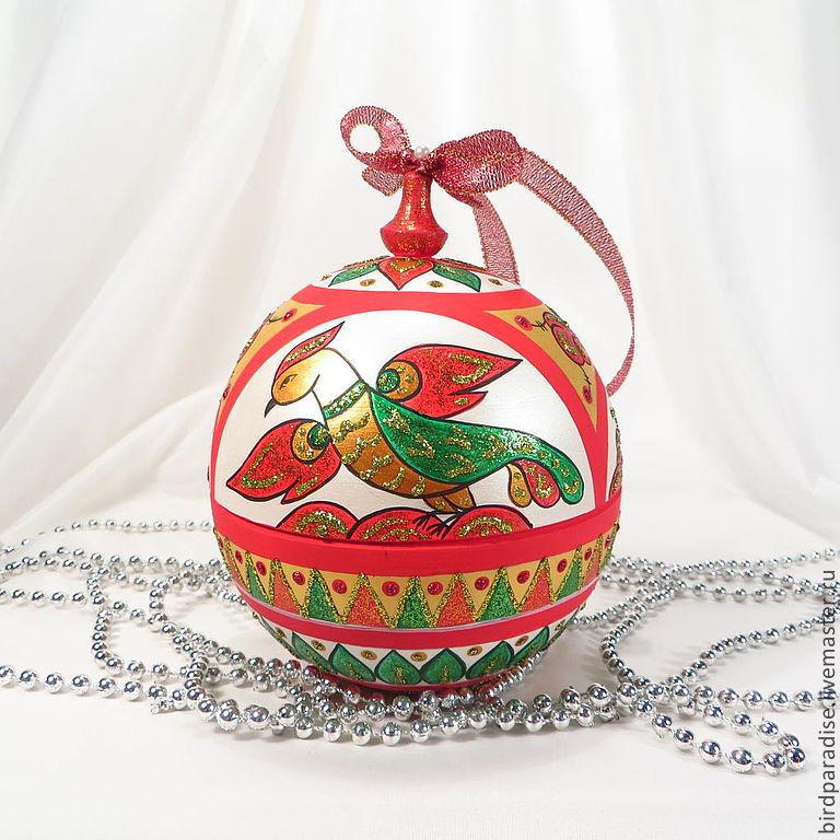 Новогодний ёлочный шар с северной росписью,ёлочное украшение,новогодний сувенир,подарок на новый год.