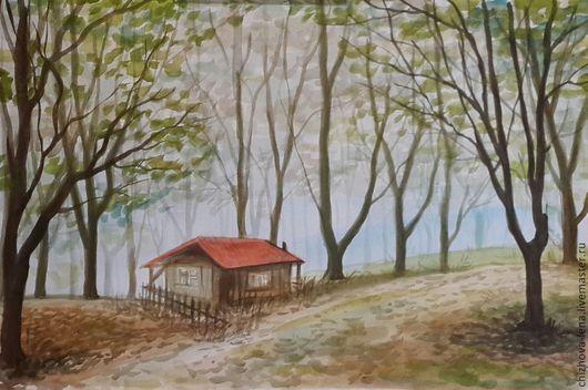 Пейзаж ручной работы. Ярмарка Мастеров - ручная работа. Купить Маленький дом в загадочном лесу. Handmade. Салатовый, лес