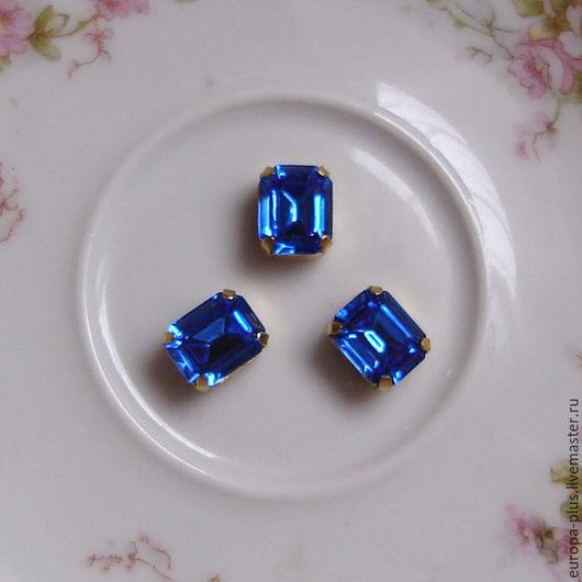 Для украшений ручной работы. Ярмарка Мастеров - ручная работа. Купить Винтажные кристаллы 10х8 мм - Sapphire. Handmade. Синий