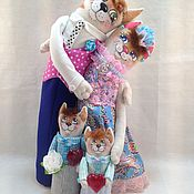 Мягкие игрушки ручной работы. Ярмарка Мастеров - ручная работа Неразлучники льняные семья с котятами. Handmade.
