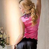 """Одежда ручной работы. Ярмарка Мастеров - ручная работа """"Затаив дыхание"""" - пижамка розово-черная с кружевом шантильи. Handmade."""