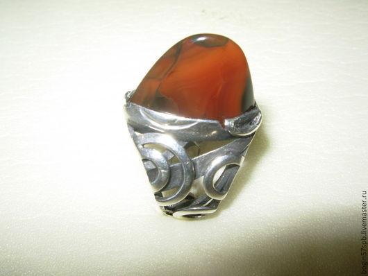 """Кольца ручной работы. Ярмарка Мастеров - ручная работа. Купить Кольцо  """"Гребень"""" с карнеолом. Handmade. Красно-коричневый"""