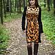 Платья ручной работы. Ярмарка Мастеров - ручная работа. Купить Вязаное платье авторское Тигра. Handmade. Черный, ирина широкова