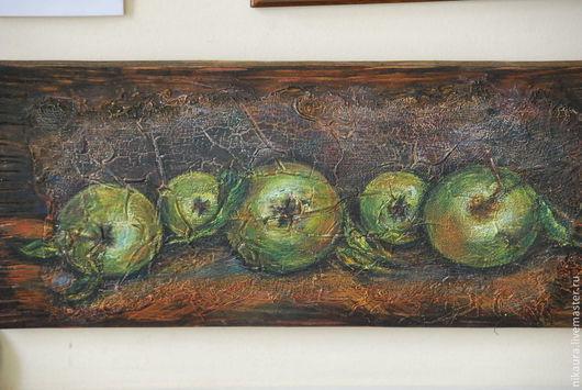Натюрморт ручной работы. Ярмарка Мастеров - ручная работа. Купить Картина на деревянной доске Яблоки. Handmade. Акрил, структурная паста