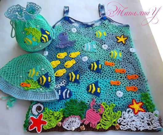 """Одежда для девочек, ручной работы. Ярмарка Мастеров - ручная работа. Купить Комплект""""В синем-синем море..""""(сарафан,панамка,сумочка). Handmade."""