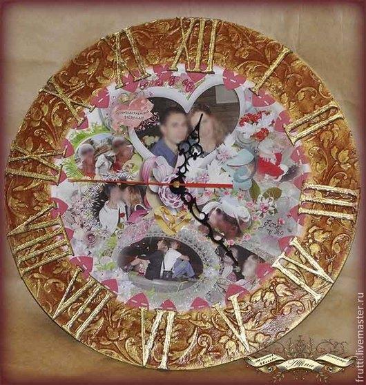 """Часы для дома ручной работы. Ярмарка Мастеров - ручная работа. Купить Часы настенные """"Любовь на все времена"""". Handmade. Бордовый, стразы"""