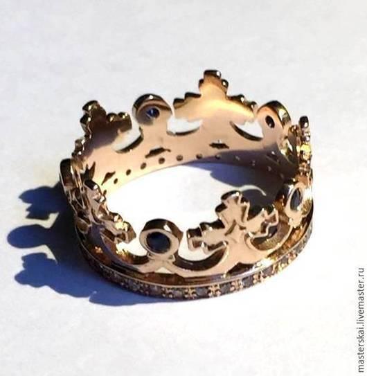 """Кольца ручной работы. Ярмарка Мастеров - ручная работа. Купить Кольцо """"Корона II"""" -золото 585, цирконы. Handmade. Золотой"""