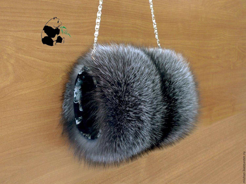 Fur clutch - bag from fur of a silver Fox. Stylish ladies accessory-11, Clutch, Ekaterinburg,  Фото №1