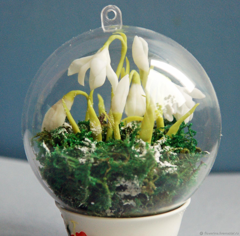 Новогодний шар на елку с цветами подснежника, Украшения, Москва, Фото №1