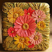 Для дома и интерьера ручной работы. Ярмарка Мастеров - ручная работа Шкатулки - Хризантемы (оранжевая, розовая, красная). Handmade.