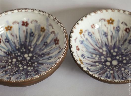 Тарелки ручной работы. Ярмарка Мастеров - ручная работа. Купить Керамическая тарелка миска (майолика). Handmade. Керамика, глиняная тарелка