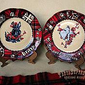 Посуда handmade. Livemaster - original item Plates wall Scottish TERRIER in plaid (set of 2 PCs). Handmade.