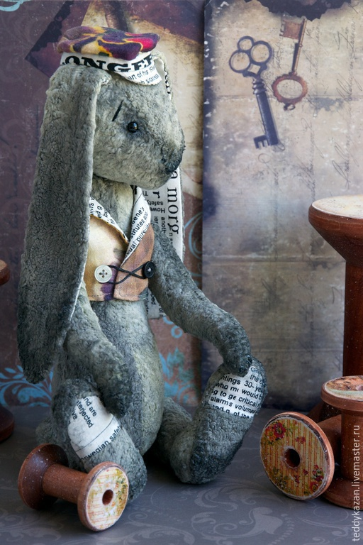 Мишки Тедди ручной работы. Ярмарка Мастеров - ручная работа. Купить Тедди кролик Дункан. Handmade. Серый, тедди