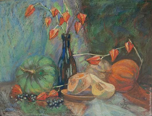 Натюрморт ручной работы. Ярмарка Мастеров - ручная работа. Купить натюрморт с тыквами. Handmade. Оранжевый, пастель, осень, на стену
