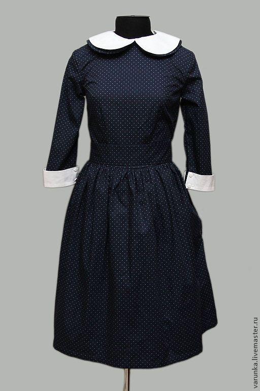 """Платья ручной работы. Ярмарка Мастеров - ручная работа. Купить Платье """"Мишель"""". Handmade. Тёмно-синий, ретро, винтажное платье"""