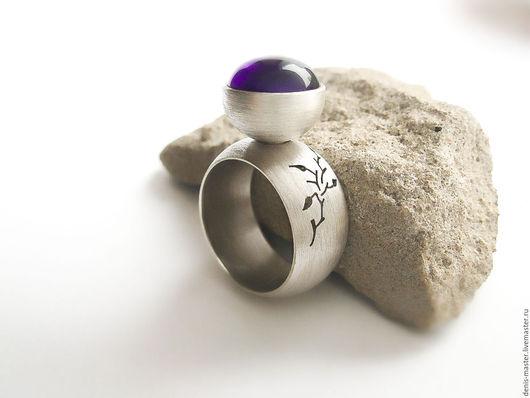 Кольца ручной работы. Ярмарка Мастеров - ручная работа. Купить Серебряный перстень с аметистом (серебро 925, аметист). Handmade. Серый
