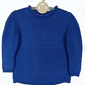 Одежда handmade. Livemaster - original item Children`s knitted jumper (sweater) made of cotton with openwork back. Handmade.
