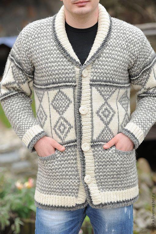 Для мужчин, ручной работы. Ярмарка Мастеров - ручная работа. Купить Мужская вязаная куртка MK1. Handmade. Серый, стильный