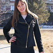 Одежда handmade. Livemaster - original item Black suede jacket with asymmetrical zipper, Biker style jacket. Handmade.