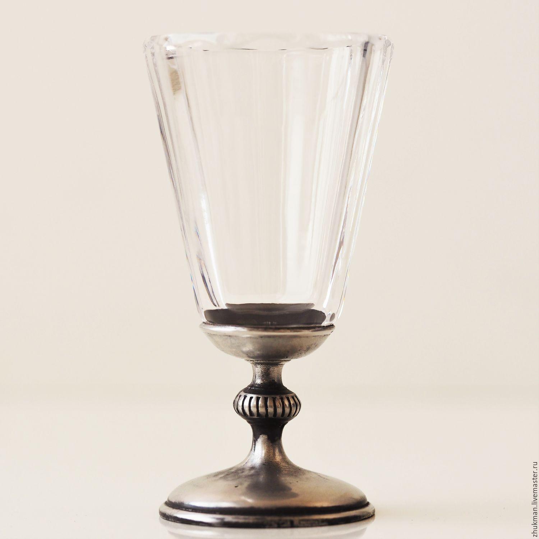 Gifts for Men handmade. Livemaster - handmade. Buy Lapotnik 'FACETED-25'. Crystal glass on pewter stem.Glass