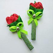 Заколки ручной работы. Ярмарка Мастеров - ручная работа Заколка-зажим, розочки для девочек, украшение на голову. Handmade.